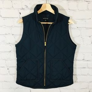 J. CREW Excursion Navy Blue Quilted Vest SMALL EUC